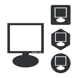 Monitor icon set monochrome vector