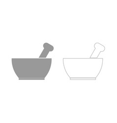 mortar and pestle the grey set icon vector image