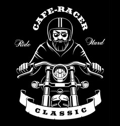 motorcycle rider with beard on dark background vector image