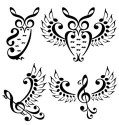 music bird and owl set vector image