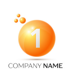 Number one splash logo orange dots and bubbles vector