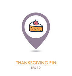 Piece of pumpkin pie mapping pin icon vector