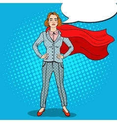 Pop art confident business woman super hero vector