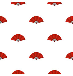 Red open hand fan pattern seamless vector