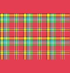 Red yellow check plaid seamless fabric texture vector