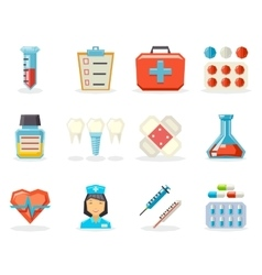 Retro flat medical isolated polygonal icons set vector