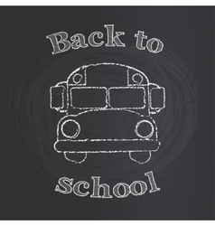 School bus with back to school sign on chalk board vector image vector image