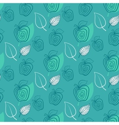 Seamless pattern with appleApplegreenleaf vector image