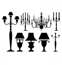 set of antique lighting vector image