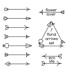 Set of floral arrows line art and logo examples vector