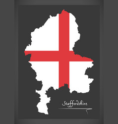 Staffordshire map england uk with english vector