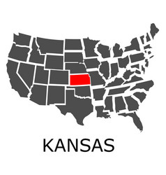 state of kansas on map of usa vector image