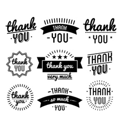 Thank you vintage label set vector