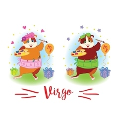 The signs of the zodiac guinea pig virgo vector