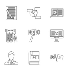 Translation of language icons set outline style vector image vector image