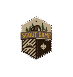 traveling outdoor badge scout camp emblem vector image vector image