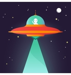 Ufo Alien in night sky vector image