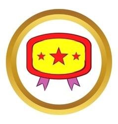 Yellow badge with three stars icon vector