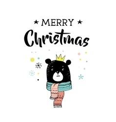 Merry Christmas greeting cards with bear vector image
