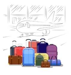 Airport luggage  people travel vector