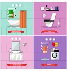 Set of posters banners with bathroom vector
