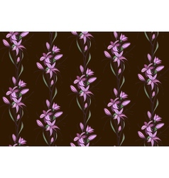 Lily Flowers Seamless Pattern on Dark Background vector image