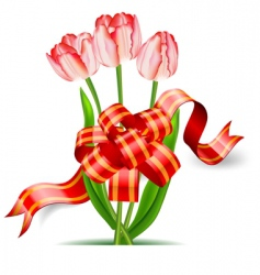 Tulips and bow vector