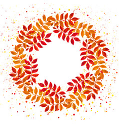 elegant floral wreath with orange and red leaves vector image
