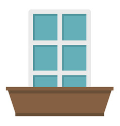 white window and flower box icon isolated vector image