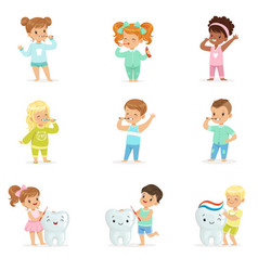 Cute little boys and girls brushing teeth vector