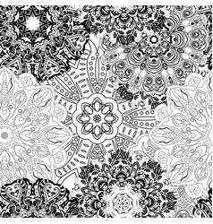 black and white seamless mandala pattern vector image