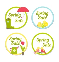 Set of four circular spring sale labels vector