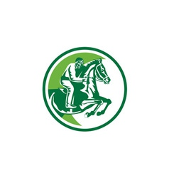 Equestrian show jumping side circle retro vector