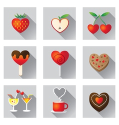 Sweet fruit and bakery love objects and icons vector
