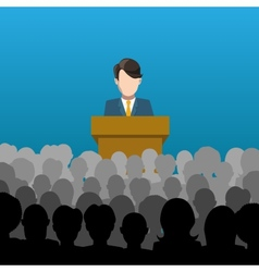 Man holds a lecture to an audience vector