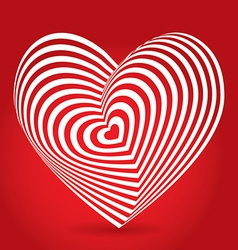 White heart on red background optical of 3d vector