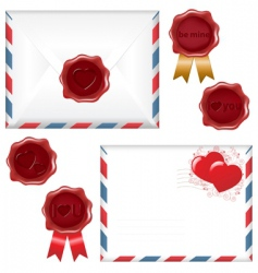 Letter and wax seal vector
