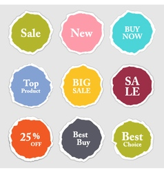 Torn paper round sticker label banner set vector