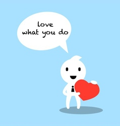businessman holding heart in his hand cartoon vector image