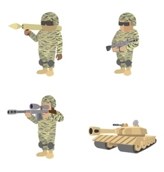 Set of soldiers cartoon icons vector