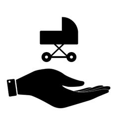 Carriage in hand icon vector