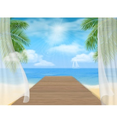 View of the sea beach and the wooden jetty vector