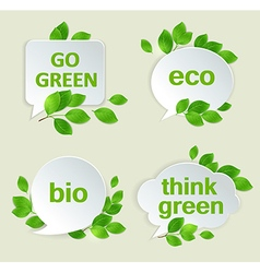 Eco labels with green leaves vector