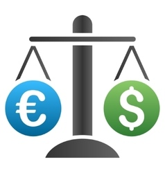 Dollar euro compare scales gradient icon vector