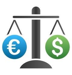 Dollar Euro Compare Scales Gradient Icon vector image