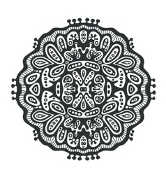 Round decor element black and white vector