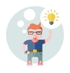 Designer with a bulb vector