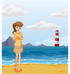 A pretty girl at the beach vector image vector image