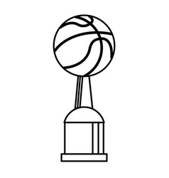 Award cup basketball sport outline vector