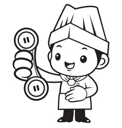 Black and white happy chef mascot please call me vector